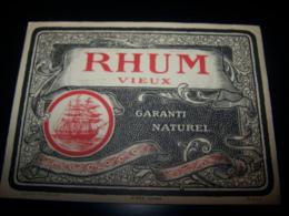 Etiquette Ancienne Rhum Vieux Garanti Naturel Jouneau Bourdillat N°939 Rare Label Lithographie Litho Rum Ron Bateau - Rhum