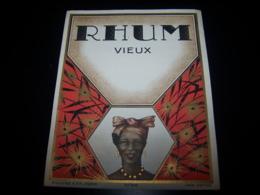 Etiquette Ancienne Rhum Vieux Plouviez N°939 Rare Label Lithographie Litho Rum Ron Portrait Femme Noire - Rhum
