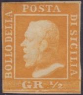 Sicilia - 040 * 1859 - 1/2 Gr. Arancio II Tavola N. 2. Cert. Biondi. Cat. € 1200,00. SPL - Sicilia
