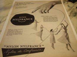 ANCIENNE  PUBLICITE TISSUS NYLON DE NYLFRANCE 1953 - Unclassified