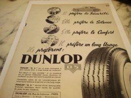 ANCIENNE PUBLICITE IL PREFERENT LE  PNEU DUNLOP 1953 - Other