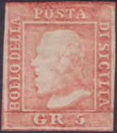 Sicilia - 041 * 1859 - 5 Gr. Vermiglio Chiaro N. 10. Cert. Biondi. Cat. € 1500,00. SPL - Sicilia