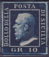 Sicilia - 042 * 1859 - 10 Gr. Indaco N. 12b. Cert. Biondi. Cat. € 1650,00. SPL - Sicilia
