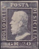 Sicilia -  043 * 1859 - 20 Gr. Grigio Ardesia N. 13. Cert. Biondi. Cat. € 1800,00. SPL - Sicilia