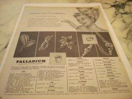 ANCIENNE   PUBLICITE JOAILLERIE PALLADIUM 1953 - Juwelen & Horloges