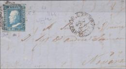 Sicilia -  044 - Fronte Di Lettera Del 1859 Da Palermo Per Novara Affrancata Con 2 Cr. Azzurro I Tav. N. 6 Con Ritocco N - Sicilia