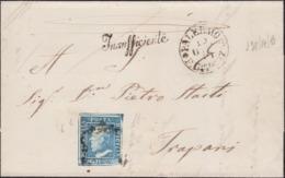 Sicilia - 046 * Lettera Del 1859 Da Palermo Per Trapani Affrancata Con Francobollo Da 2 Gr. I Tav. N. 6. Sul Fronte Boll - Sicilia