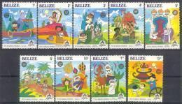 Mzr174 WALT DISNEY 30 JAAR DISNEYLAND KANO INDIAN CACTUS LAMA GIRAF MUSIC DONKEY ASS CAMEL FISH BELIZE 1985 PF/MNH - Disney