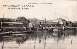 """CPA   56  LORIENT---LE PORT DE COMMERCE---PUBLICITE """" CHOCOLAT LORRAIN """" - Lorient"""