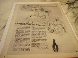 ANCIENNE PUBLICITE ESPRIT D EAU ET PIERRE ORLAN ET  PERRIER  1953 - Perrier
