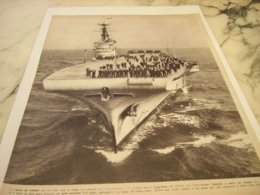 AFFICHE PHOTO PORTE AVION L ARROMANCHES 1953 - Barche