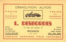 Thematiques Buvard Demolition  Casse Autos L Desbordes 17 Rue De Lorient Rennes - Automotive