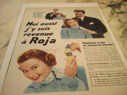 ANCIENNE PUBLICITE CHEVEUX BRILLANTINE ROJA 1953 - Perfume & Beauty