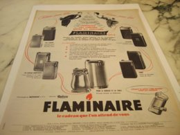ANCIENNE PUBLICITE CADEAU POUR ELLE ET LUI  BRIQUET  FLAMINAIRE 1953 - Tobacco (related)