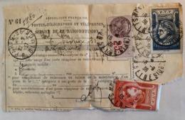 RECU 1935 SERVICE DE LA RADIODIFFUSION 3 OBLIT DATES ET LIEUX DIFFERENTS TIMBRE 1 ET 2 MONTREUIL RUE GLUCK PAS COURANT - Cartas Con Impuestos