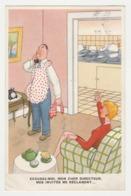 Humour 1956 Illustrateur ? Excusez Moi Mon Cher Directeur ... Homme Avec Tablier Au Tél Avant De Faire La Vaisselle - Humor