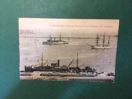 Cartolina Cartagenea - Vista Del Puerto Con La Nautilus Y El Cataluna - 1924 - Cartoline