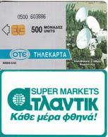 GREECE - Thermopylae Satellite Station, Super Markets Atlantic(500 Units), Tirage 50000, 05/93, Used - Spazio