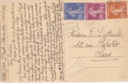 CP De Saint-Cast (la Plage) Obl Daguin (...Plage, Tennis) Sur 10c, 20c, 25c Semeuse N° 190, 235, 279 Le 10/8/37 - 1906-38 Semeuse Con Cameo