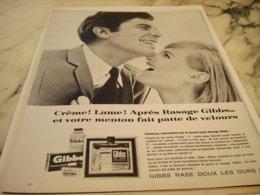 ANCIENNE PUBLICITE CREME LAME APRES RASAGE  GIBBS  1966 - Perfume & Beauty