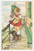 Illustrateur ? Humour Fillette Avec Ses Jumelles Et Son Chien à La Montagne - Illustrateurs & Photographes