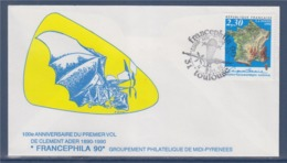 = Francephila 900 Exposition Internationale Clément Ader Toulouse 14.10.90 Enveloppe Timbre 2662 Institut Géographique - Marcophilie (Lettres)