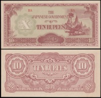 MYANMAR {BURMA}  CHINESE OCCUPATION 10 RUPEES  1942г UNC - Myanmar