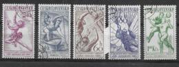 CECOSLOVACCHIA - 1958 - CAMPIONATI SPORTIVI EUROPEI - SERIE CPL. 5 VAL. USATA (YVERT 942/6 -  MICHEL 1058/62) - Francobolli