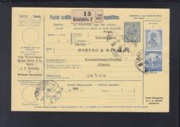 Ungarn Paketkarte 1917 Kiralyhida Bruckneudorf Nach Konstantinopel - Ungheria