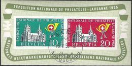 """Schweiz Suisse 1955: """"LAUSANNE"""" Zu WIII 35 Mi Block 15 Yv BF 15 Mit O BERN 15.II.55 Ausgabetag (Zu CHF 110.00 ++) - Blocks & Kleinbögen"""