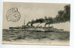 """MARINE CACHET """" Paquebot TOULON  Sur Mer  8 Juin 1913 """"   Croiseur JULES MICHELET 1 Ere Classe      D14  2019 - Warships"""
