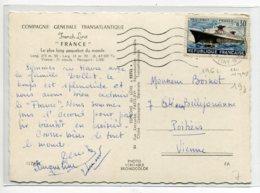 MARINE Paquebot FRANCE Métarmophoses écrite Avec Timbre De Lancement  1962    D14  2019 - Piroscafi
