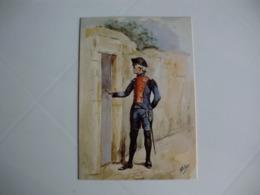 Postcard Postal Portugal Uniformes Militares Portugueses Oficial Do Batalhão Da Ilha Terceira  1797 - Uniformes