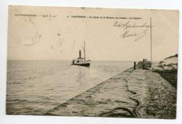 50 CARTERET Le Bateau De JERSEY Le CYGNe Arrive à Quai  No 1 La Normandie La CPA Timbrée 1904    D14 2019 - Carteret