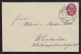 1927 Dt.Reich EF 10Pf Mi. 399y QUEDLINBURG N. WIESBADEN - 27.3.1927 - TRAUERUMSCHLAG - Briefe U. Dokumente