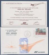 = 1er Vol Concorde F.BVFA Paris Keflavik AF.4947 Cdt. M. Jacob Roissy 21.6.84 Et Carte Attestation Timbre 2307 Cartier - Aerei