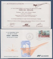 = 1er Vol Concorde F.BVFA Paris Keflavik AF.4947 Cdt. M. Jacob Roissy 21.6.84 Et Carte Attestation Timbre 2307 Cartier - Flugzeuge