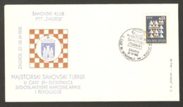 Yugoslavia 1966 Zagreb - Chess Cancel On Commemorative Envelope - Schach