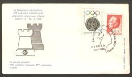 Yugoslavia 1968 Zagreb - Chess Cancel On Commemorative Envelope, First Day - Schach