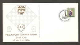 Yugoslavia 1969 Sarajevo - Chess Cancel On Commemorative Cardboard FIRST DAY - Schach
