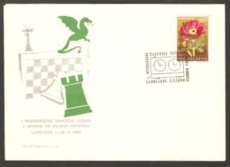 Yugoslavia 1969 Ljubliana - Chess Cancel On Commemorative Envelope - Schach