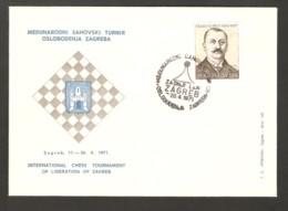 Yugoslavia 1971 Zagreb - Chess Cancel On Commemorative Envelope, Last Day - Schach
