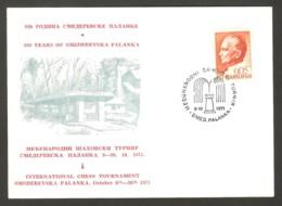 Yugoslavia 1971 Smederevska Palanka - Chess Cancel On Commemorative Cardboard - Schach