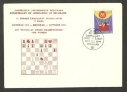 Yugoslavia 1971 Beograd - Chess Cancel On Commemorative Envelope - Schach
