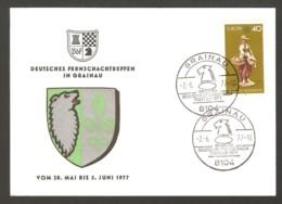 Germany 1977 Grainau - Chess Cancel On Commemorative Cardboard - Scacchi