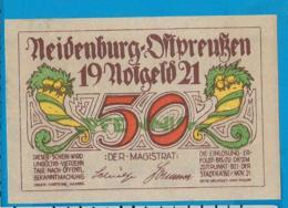 Notgeld   50 Pfennig     Neidenburg    Ostpreussen   1921 - Collections