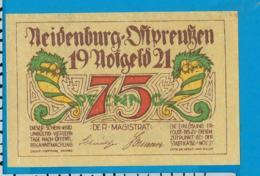 Notgeld   75 Pfennig     Neidenburg    Ostpreussen   1921 - Collections