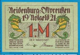 Notgeld   1 Mark     Neidenburg    Ostpreussen   1921 - Collections