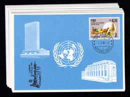 UNO Genf Blaue Karten Jahrgang 1988, Set Nummer 179-188 Komplett - Genf - Büro Der Vereinten Nationen