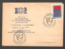 Ussr 1974 Odessa - Chess Cancel On BLUE Commemorative Envelope, Match Petrosian-Korchnoi - Scacchi